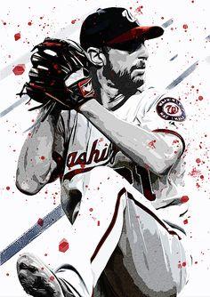 Max Scherzer by Smh Yrdbk Mlb Players, Baseball Players, Baseball Wallpaper, Baseball Art, Baseball Season, Washington Nationals, Ryan Reynolds, Sports Art, Major League