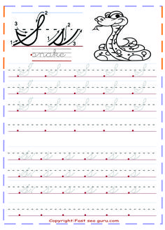 Free printables cursive handwriting tracing worksheets letter s for snake preschool.learning to write worksheets for preschoolers.cursive tracing handwriting practice worksheets for kindergarten.letter s for snake coloring pages. Cursive Writing Practice Sheets, Teaching Cursive Writing, Cursive Handwriting Practice, Learning Cursive, Cursive Writing Worksheets, Handwriting Analysis, Tracing Worksheets, Cursive Abcd, Writing Sentences