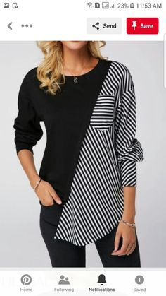Spring Two Tone T Shirt For Women Round Neck Black Long Sleeve Striped Sweatshirt Striped Long Sleeve Shirt, Long Sleeve Shirts, Mode Hijab, Mode Outfits, Trendy Outfits, Outerwear Women, Refashion, Diy Clothes, Stylish Clothes