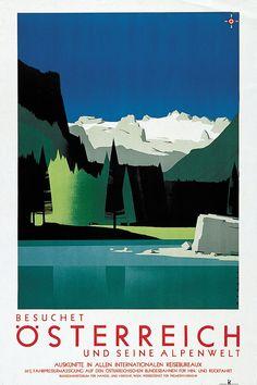 Austria Travel Poster Home Ski Decor Retro Art Print