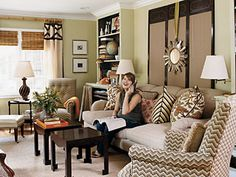 always liked the mix of colors and patterns in fran keenan's living room