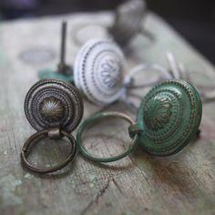 Door knobs for airing cupboard? Airing Cupboard, Cupboard Drawers, Cupboard Handles, Metal Drawers, Ceramic Door Knobs, Drawer Pulls And Knobs, Decorative Hooks, Green Copper, Dresser Knobs