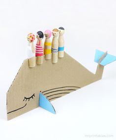 Peg Dolls with Cardboard Sea Creatures