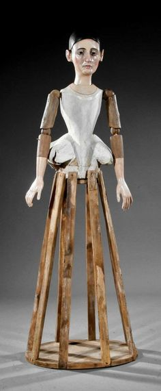 An Carved and Painted Santos Cage Doll : Lot 843