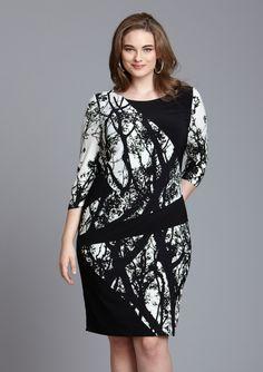 $59 Taylor plus long sleeve tree print dress  CurvyGirl with FabFall Style!  PattyOnSite