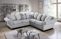 Corner Sofa Living Room, Grey Corner Sofa, Living Room Grey, Home Living Room, Living Room Decor, Living Spaces, Grey Couches, Gray Sofa, Silver Sofa