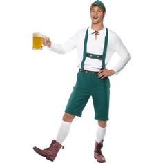 Oktoberfest Costume, Green, Lederhosen Shorts with Braces, Top and Hat. Great costume for an oktoberfest celebration! Costume Oktoberfest, Oktoberfest Fancy Dress, Oktoberfest Beer, Mens Lederhosen, Adult Fancy Dress, Halloween Disfraces, Costume Halloween, Halloween Parties, Costumes