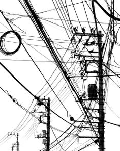 125 MAGAZINE -- What is really neat about this piece is the composition, Iike how the cables are spread out and you are looking up towards them which adds perspective. Alien Aesthetic, City Aesthetic, Abstract Photography, Street Photography, White Art, Black And White, Pole Art, Urban Industrial, City Illustration