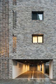 Apartment building facade south korea 40 ideas for 2019 Cabinet D Architecture, Brick Architecture, Contemporary Architecture, Interior Architecture, Brick Design, Facade Design, Exterior Design, Brick In The Wall, Building Facade