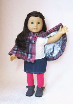 Grace is oh so chic in Bee Cazares Jacobs intermediate version of the KeLibu Weekend in Paris Capelet for American Girl. Available soon at www.PixieFaire.com. #Americangirlpatterns