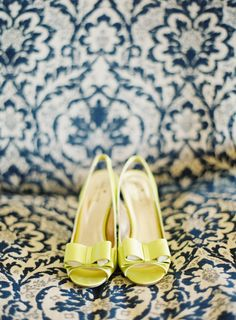 Yellow wedding shoes. Love! (Photo by Kurt Boomer) - every photo album should include the wedding shoes!