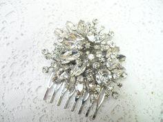 SPECTACULAR Vintage RHINESTONE Hair Comb  by ElegantiTesori, $84.99