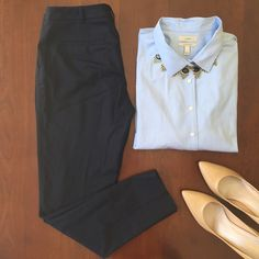 Slim fitting navy trousers Taylor fit trousers by Halogen purchased at Nordstrom. Navy color. 69% polyester, 29% viscose, 2% spandex, and 100% polyester lining. Halogen Pants Straight Leg