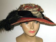 Antique 1920 Wide Brim Hat Richly Trimmed in Ostrich Feathers & Brocade! #WideBrim