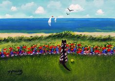Ferret beach ocean folk art PRINT by Todd Young At by ToddYoungArt