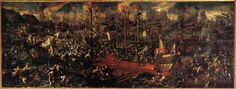 VICENTINO, Andrea (b. ca. 1542, Vicenza, d. ca. 1617, Venezia)   Click! Battle of Lepanto  1603 Oil on canvas Palazzo Ducale, Venice  The Battle of Lepanto, the famous naval battle against the Turks, took place in 1571 and concluded with the victory of the Venetians and its allies over the enemies of Christianity, who seemed by now invincible in the eyes of all the European nations. The painting represents the realistic and symbolic victory after many years of bitterness, sacrifice and…