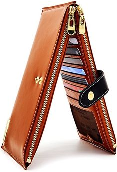 ANDOILT Womens Genuine Leather Wallet RFID Blocking Credit Card Holder Zipper Purse Cell Phone Handbag Brown at Amazon Women's Clothing store: