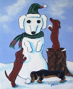 Dogs Dachshund Snowman Snowdog Doxies Whimsical by JEllisonArt