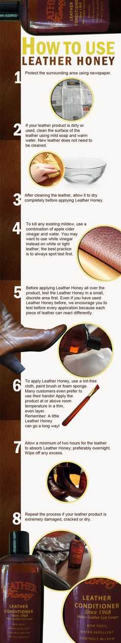 How to clean leather -- and apply Leather Honey. A helpful infographic!
