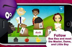 Baa Baa Black Sheep - by Duck Duck Moose - an interactive story with simple puzzle activity based on 2 classic songs (Baa Baa Black Sheep and Row Row Row Your Boat).  Original Appysmarts score: 82/100  Featured in Episode 1 of Appysmarts weekly video podcast.