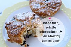 Mrs D plus 3   Thermomix coconut, white chocolate and blueberry wholegrain muffins   http://www.mrsdplus3.com