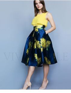 Nice yellow and navy outfit Popular Ladies Indian Fashion Dresses, African Fashion, Fashion Outfits, Classy Dress, Classy Outfits, Best Prom Dresses, Short Dresses, Pretty Dresses, Beautiful Dresses