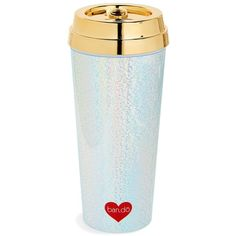 Women's Ban.do Hot Stuff Thermal Travel Mug ($18) ❤ liked on Polyvore featuring home, kitchen & dining, drinkware, metallic gold, hot coffee mug, gold mug, thermal mug, thermo mug and hot tea mug