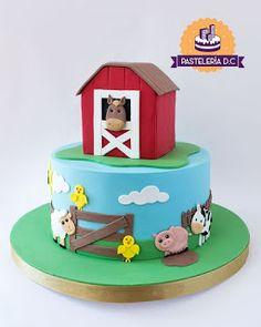 Farm Birthday Cakes, Animal Birthday Cakes, Farm Animal Birthday, 1st Boy Birthday, Farm Animal Cakes, Farm Animal Party, Farm Party, Farm Animals, Barn Cake