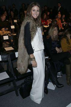 Fur Jacket, White Flares