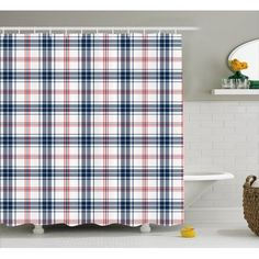 Home - Country Decor Idea Plaid Shower Curtain, British Country, Bathroom Sets, Country Bathrooms, Curtains, Traditional, Hooks, Navy Blue, Fabric