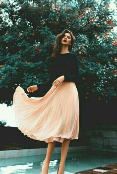 Peachy long skirt, transition winter to spring