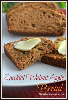 Zucchini Walnut Apple Bread ~ a Healthy version of bread. Only 1/2 cup of sugar in the whole loaf! Zucchini, walnuts, apples. You can even add raisins or coconut! I am so doing coconut next time I make this!