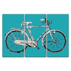 Chicago Street Map Bicycle Triptych Canvas Giclee - Teal. $185.00, via Etsy.