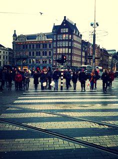 Waiting to cross the street, de Dam - Amsterdam, the Netherlands 2013.