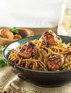 Kung-Pao-Chicken-Spaghetti-and-Meatballs   This version of Kung Pao chicken has all the flavors you'd expect from the classic dish, but in a comforting, homestyle spaghetti and meatballs package!   http://thechunkychef.com
