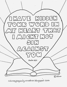 Psalm 119 11 Coloring Page Sketch Coloring Page Sunday School Kids, Sunday School Lessons, Sunday School Crafts, Sunday School Coloring Pages, Coloring Pages For Kids, Adult Coloring, Colouring, Free Bible Coloring Pages, Fairy Coloring