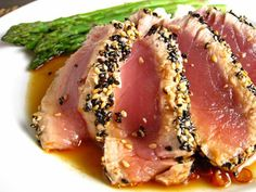 Blackened Ahi Tuna Steaks...I ABSOLUTELY LOVE THESE! Perfect with sticky rice, teriyaki sauce and wasabi