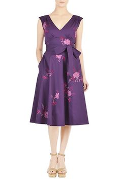 I <3 this Floral embellished poplin pin-up dress from eShakti