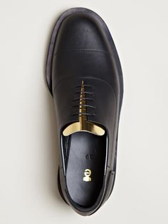 Ets Callatay Stitched Black Oxfords with Gold Tongue. Men's Spring Summer Fashion.