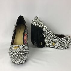 Madden Girl Rockon Studded Wedge Pump Woman's Size 11M Halloween Bling Drag Sexy…