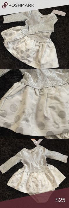 Calvin Klein Silver Dress Comes with matching bloomers. Brand new with tags! Silver and ivory Calvin Klein Dresses Formal