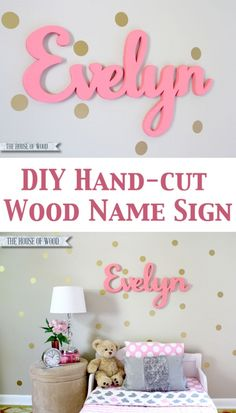 DIY Hand-cut Custom Wood Name Sign by Jen Woodhouse / The House of Wood