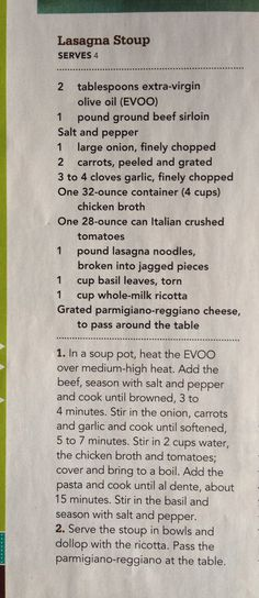 Lasagna Stoup from Rachael Ray Mag