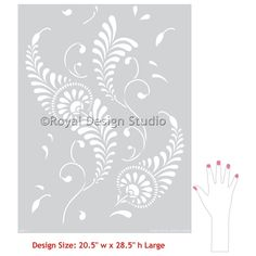 Bird Feathers or Leaves Wall Stencil Pattern - Classic Damask Wallpaper Design - Decorative Painting - Shabby Chic Farmhouse Damask Wall Stencils, Large Wall Stencil, Wall Stencil Patterns, Stencil Painting On Walls, Large Stencils, Stencil Art, Stencil Designs, Fabric Painting, Stenciling