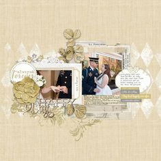 Happy Day military wedding scrapbook page #designerdigitals