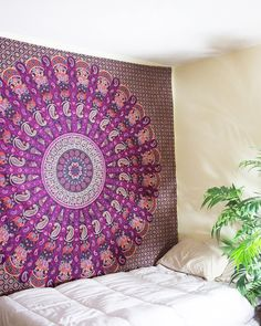 Items similar to Indian Handmade Psychedelic Tapestry Mandala Queen Size Wall Hanging Bedspread Dorm Decor Hippie Bohemian Tapestries Purple Color # on Etsy Bohemian Wall Tapestry, Dorm Tapestry, Indian Tapestry, Mandala Tapestry, Tapestry Wall Hanging, Tapestry Floral, Wall Hangings, Mandala Indiana, Floral Bedspread