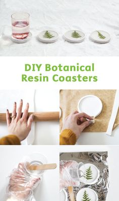 Update your space for the summer with a touch of nature! These DIY Botanical Resin Coasters are easy to make and will look great displayed on your coffee table. You'll need a crystal resin kit, an assortment of pressed leaves, and some polymer clay to ach Diy Resin Crafts, Polymer Clay Crafts, Diy Clay, Diy Arts And Crafts, Diy Crafts To Sell, Diy Crafts For Kids, Summer Crafts, Craft Ideas, Cute Coasters