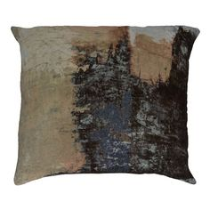 Add an artful touch to the living room sofa or the den arm chair with this lovely velvet throw pillow, showcasing a brushstroke design.