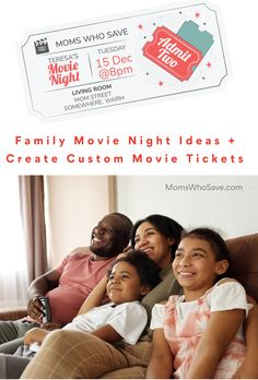 Check Out Family Movie Night Ideas + Create Your Custom Movie Tickets (PLUS a List of 40 Favorite Family Films) #movies #family
