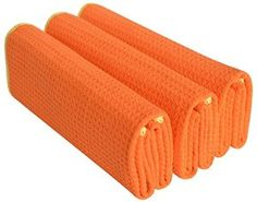 Sinland 320gsm Thick Waffle Weave Towel Microfiber Kitchen Towels Dish Drying Towels Hand Towels 3 Pcs Orange/Edge Yellow - Visit to see more options